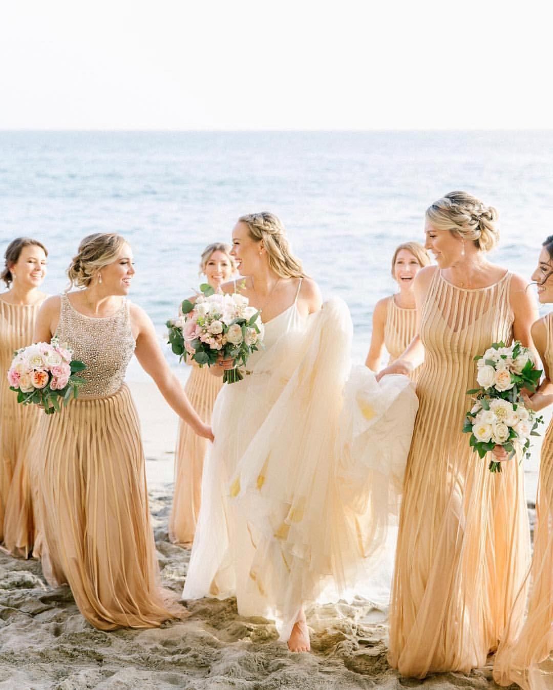 Gold Wedding Dress Gold Bridal Party Gold Bridesmaids Beach