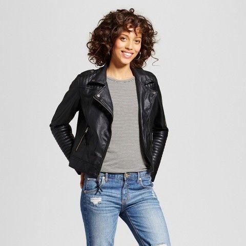 Xhilaration Women's Faux Leather Moto Jacket Juniors') | Leather ...