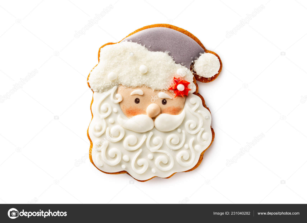 Download Closeup Image Of Santa Claus Head Gingerbread Xmas Cookie Isolated At White Background Xmas Cookies Christmas Cookies Decorated Santa Claus Images