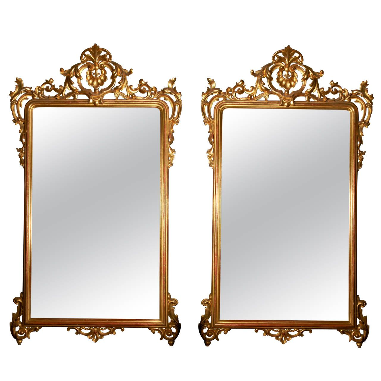 pair of 19th Century gilt wood mirrors | From a unique collection of antique and modern floor mirrors and full-length mirrors at http://www.1stdibs.com/furniture/mirrors/floor-mirrors-full-length-mirrors/