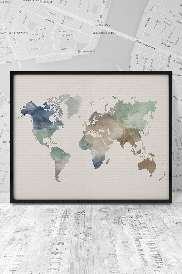 World map art print watercolor world map 20x16 printable wall art world map art print watercolor world map 20x16 printable wall art watercolor gumiabroncs Image collections