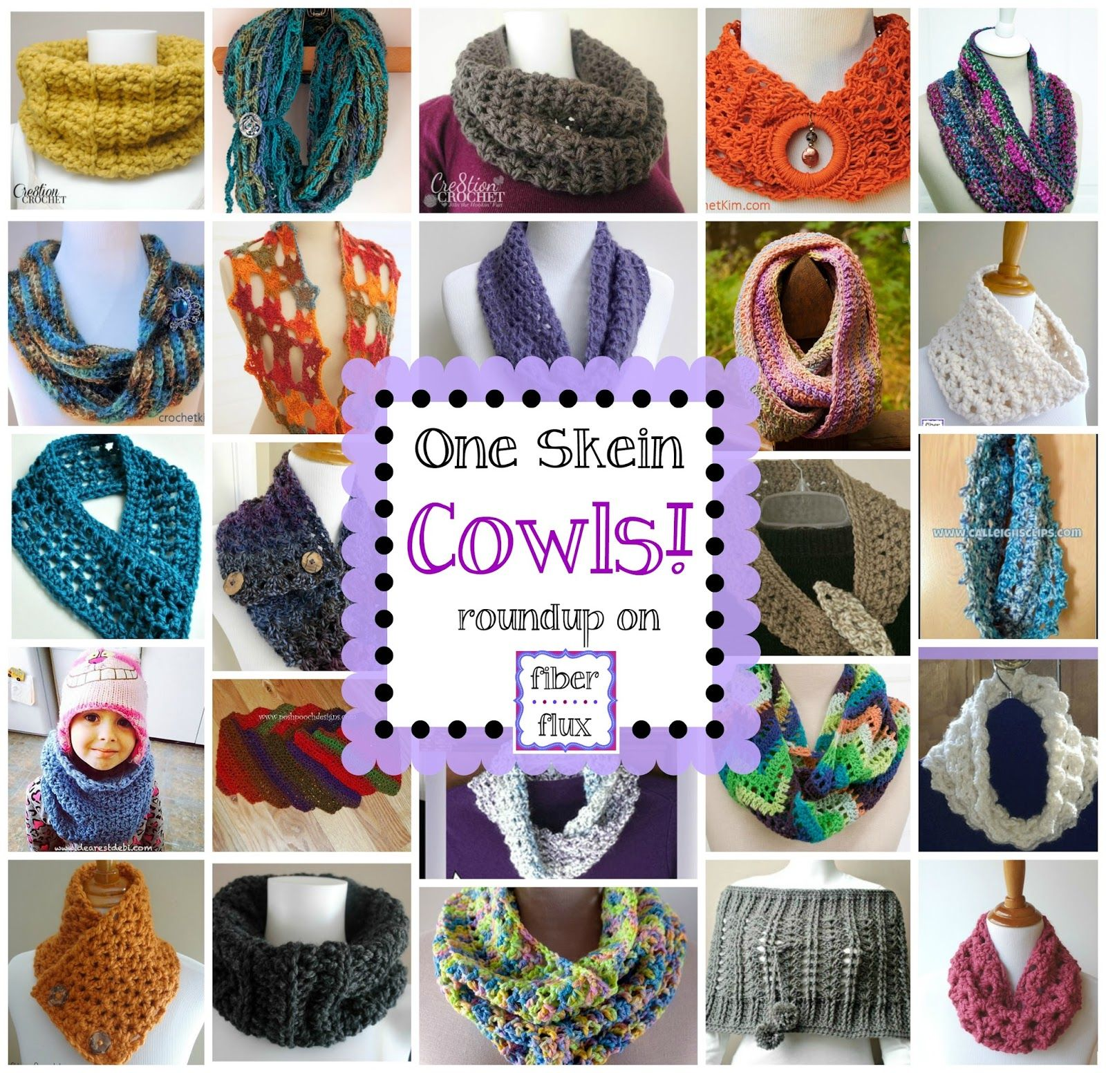 One Skein Cowls! 20+ Free Crochet Patterns... (Fiber Flux ...