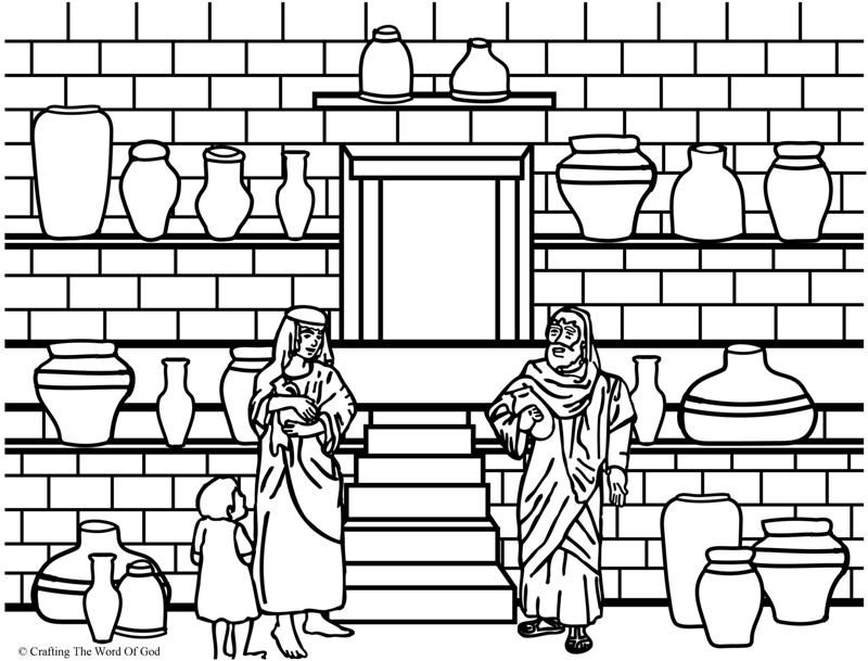 elijah and the widow coloring page - Elijah Bible Story Coloring Pages