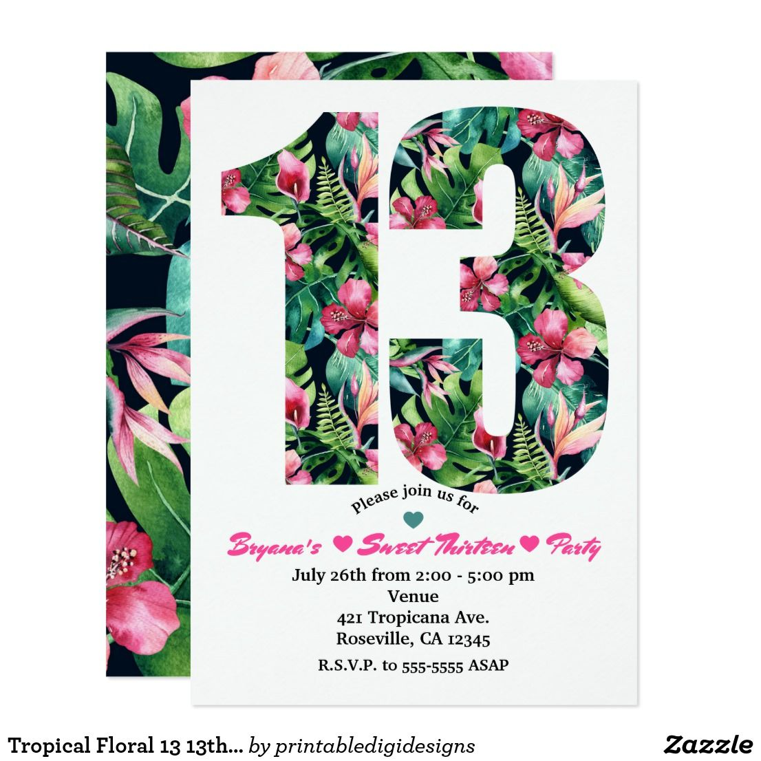 tropical floral 13 13th birthday party invitation in 2018 happy