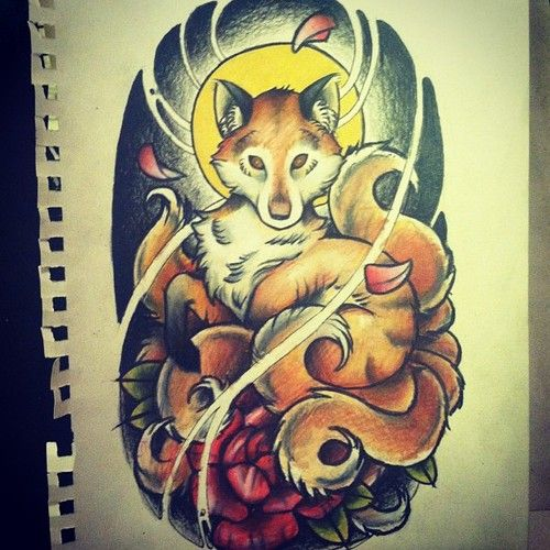 Traditional Nine Tailed Fox Tattoo