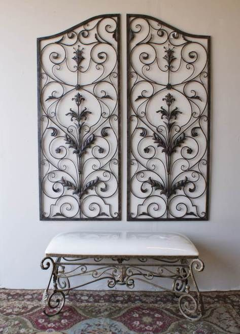 Tuscan Large Scrolling Wrought Iron Wall Grille Set. Inspired by a ...