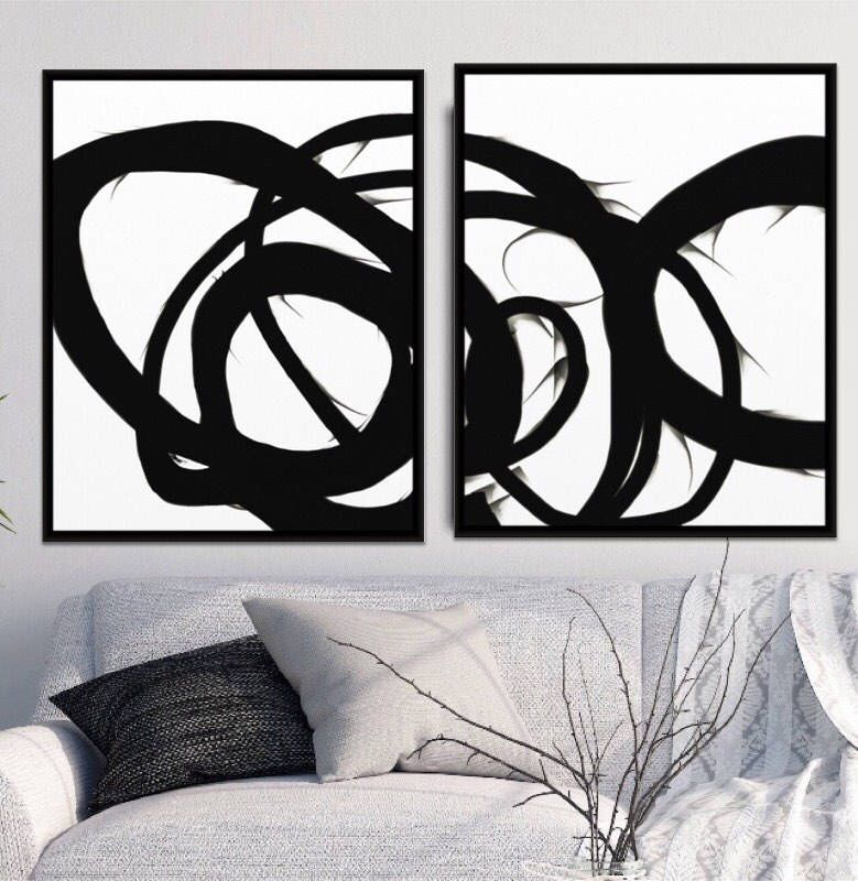 Best selling poster set of 2 prints printable set black and white art black wall art minimal art 30x40 printable abstract set of two