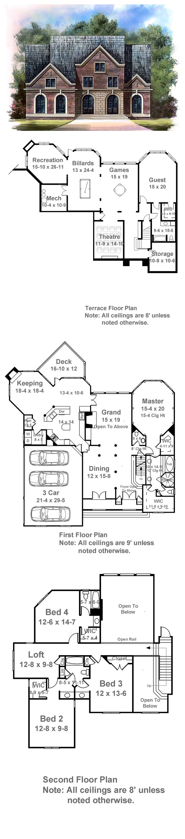 House Plan 72101 | Total living area: 3128 sq ft, 4 bedrooms & 3.5 bathrooms.