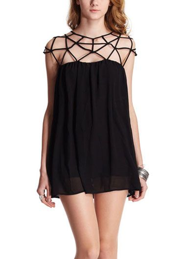 wholesale Loose Hollow Design Round Neck Cap Sleeve Shift Dress