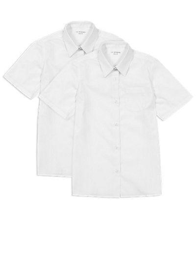 Non-iron slim fit short sleeve school shirts