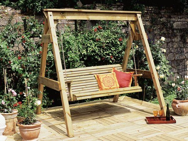 Design moderne de la balançoire- en bois et en fer | Balancelle ...
