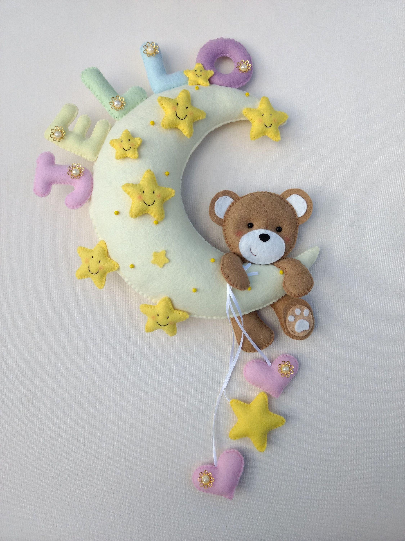 Baby Room Decor Personalized Felt Moon Teddy Bear Handmade Etsy Felt Decorations Handmade Felt Baby Room Wall