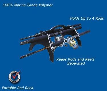 Securely carry up to 4 fishing rods and reels with one hand! Keeps rods and reels elevated from ground and separated from each other to help prevent damage.