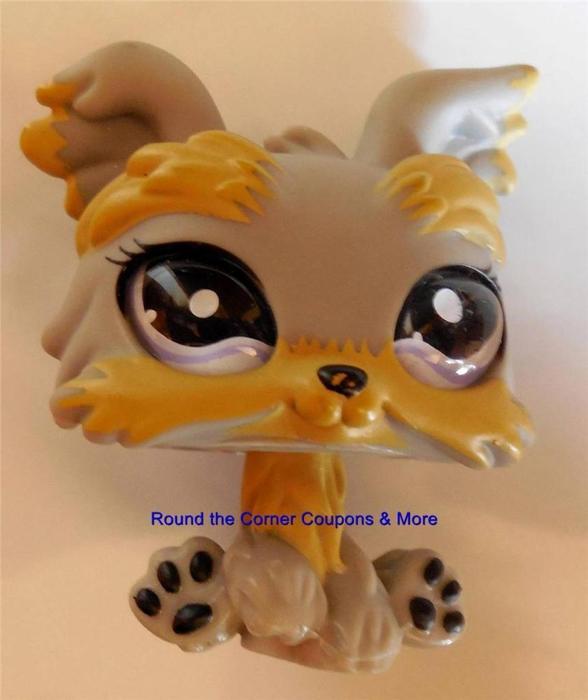 Littlest Pet Shop Lps Yorkie 883 Gray With Purple Eyes By Hasbro