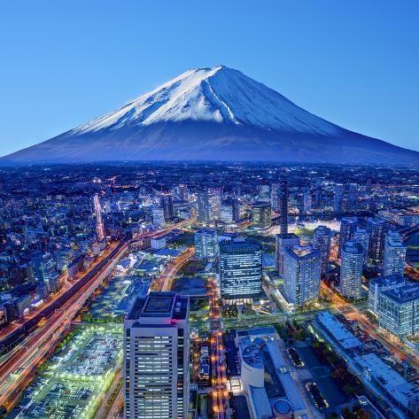 size: 16x16in Photographic Print: Skyline of Mt. Fuji and Yokohama, Japan. by SeanPavonePhoto :