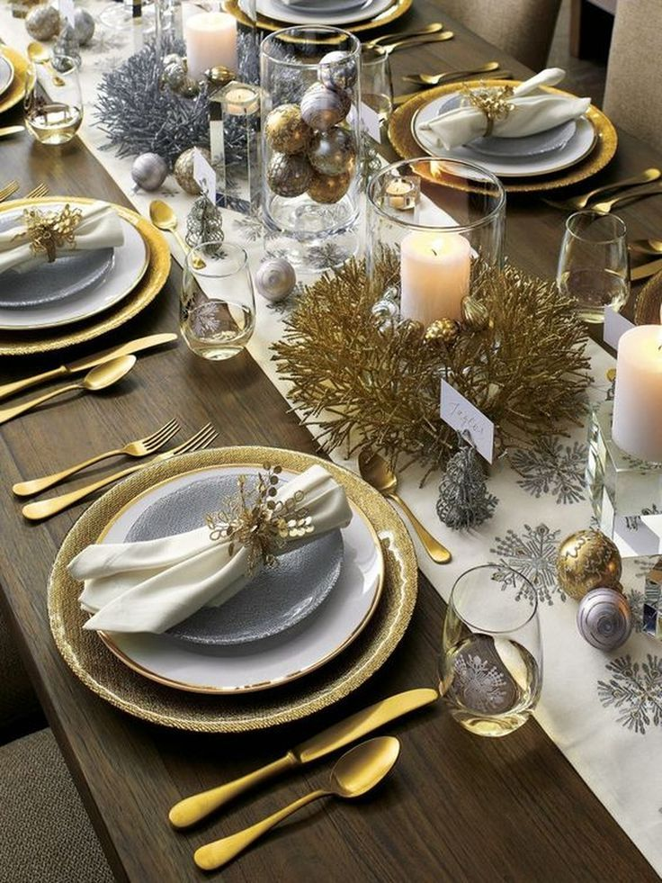 New Year's Eve Dinner Party Tablescape | Dinner party decorations, New years dinner party, New years