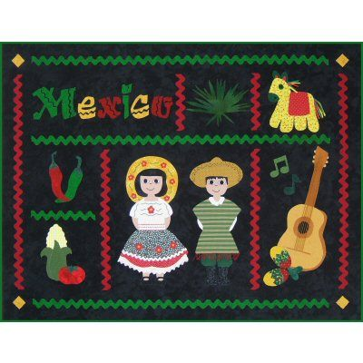 Postcards from...Mexico Quilt Pattern http://www.victorianaquiltdesigns.com/VictorianaQuilters/PatternPage/PostcardsfromMexico/PostcardsfromMexico.htm #quilting #Mexico