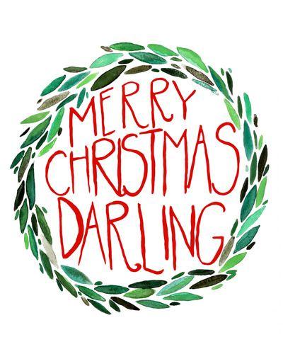 merry christmas darling watercolor