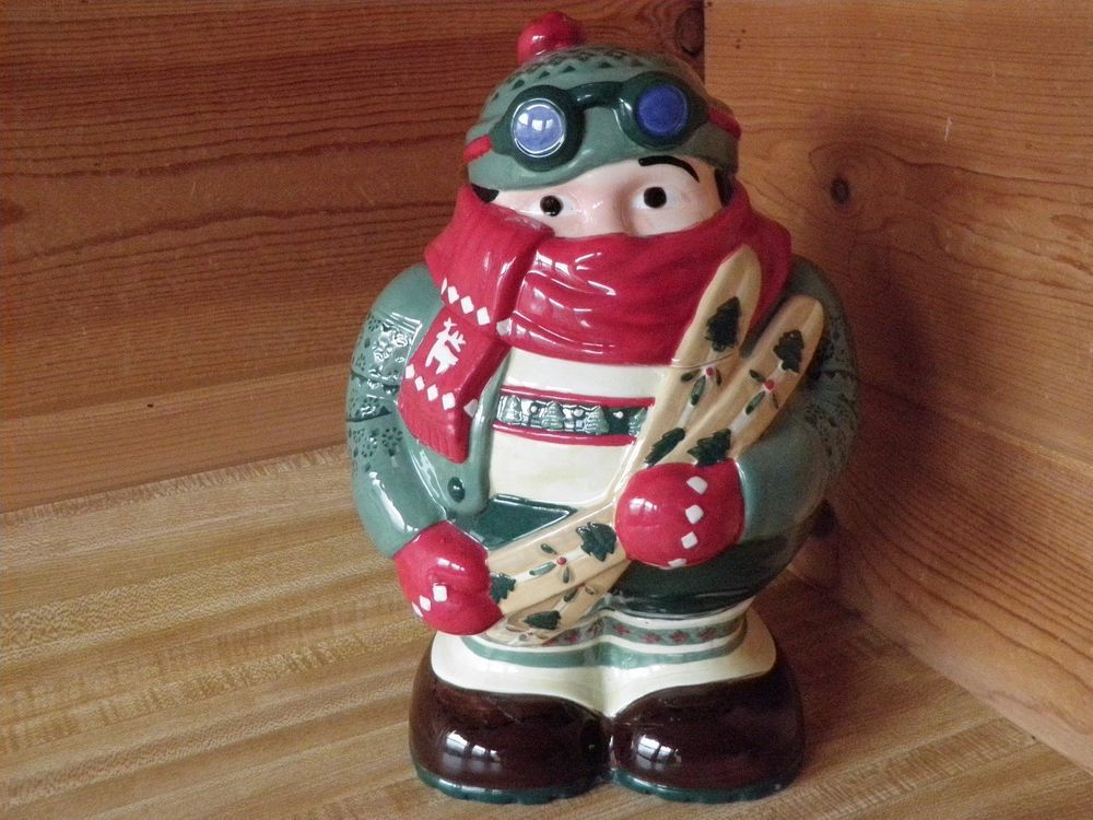 "Winter Mountain Skier Skis Candy Cookie Jar 11.5"" Christmas Holiday Ceramic"
