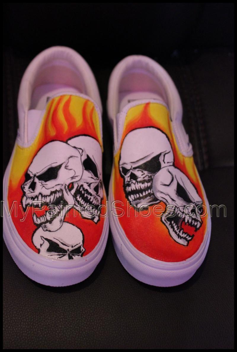 470dae24f5 custom canvas shoes Skulls Vans slipon painted shoes