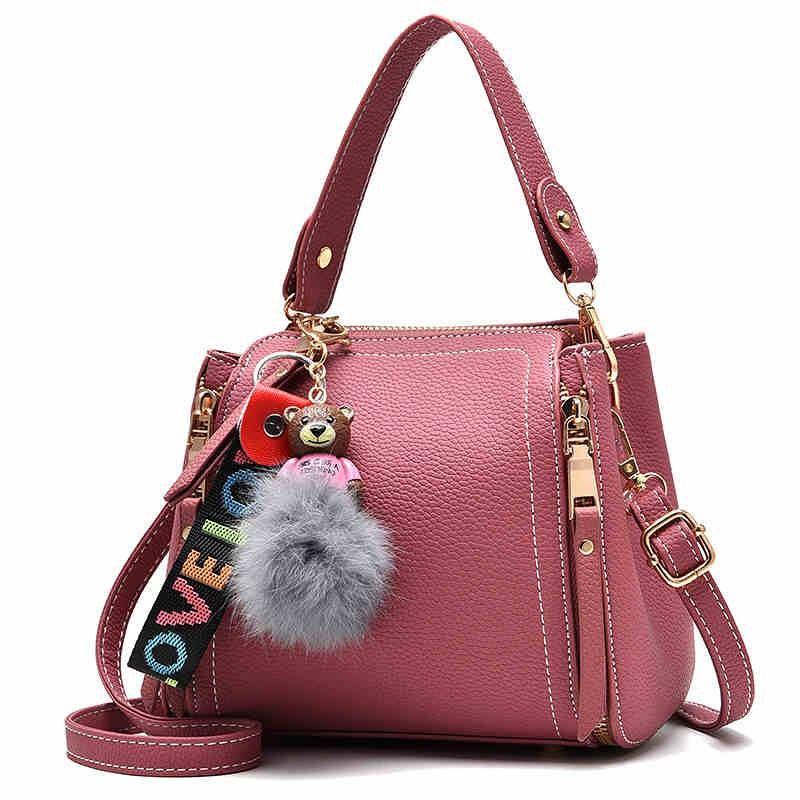 Fashion Women Little Bear Shape Pendant Pu Handbag