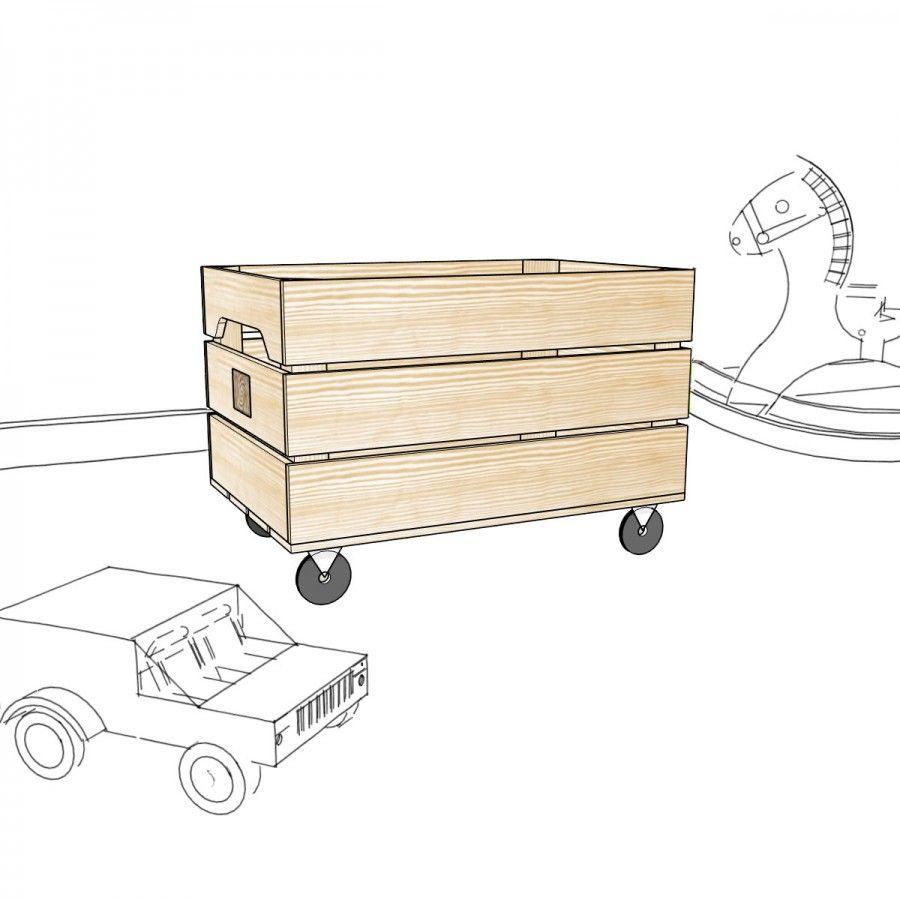 Caisse Bois À Roulettes chariot standard | caisse pomme, chariot a roulette et
