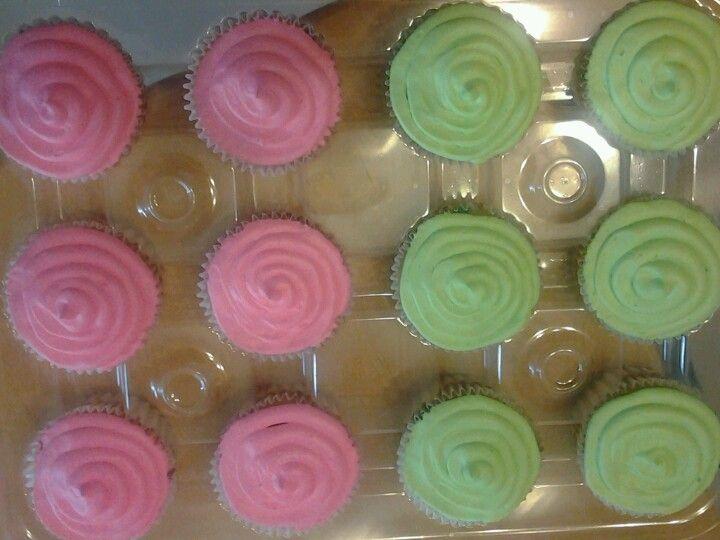 Hot pink n hot green cupcakes