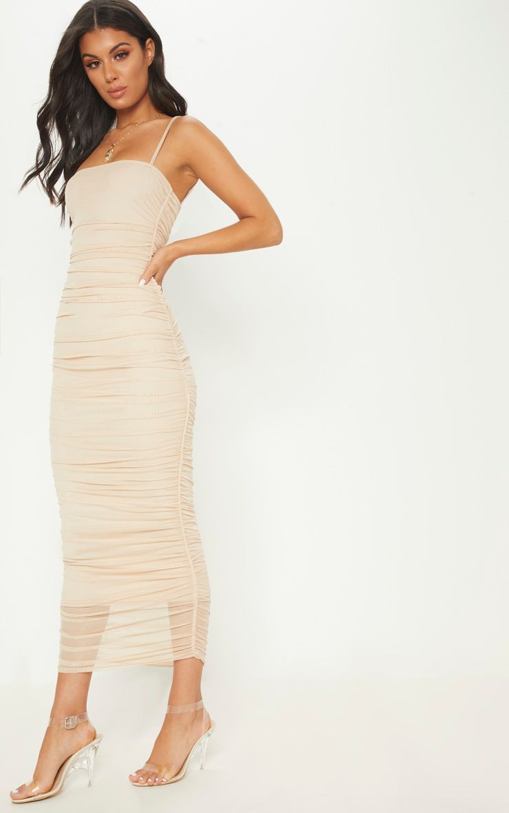 bd2f0956ba0 Nude Strappy Mesh Ruched Midaxi Dress in 2019