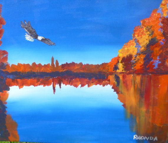 freedom eagle over autumn lake 8x10 by AffordableARTbyRonda