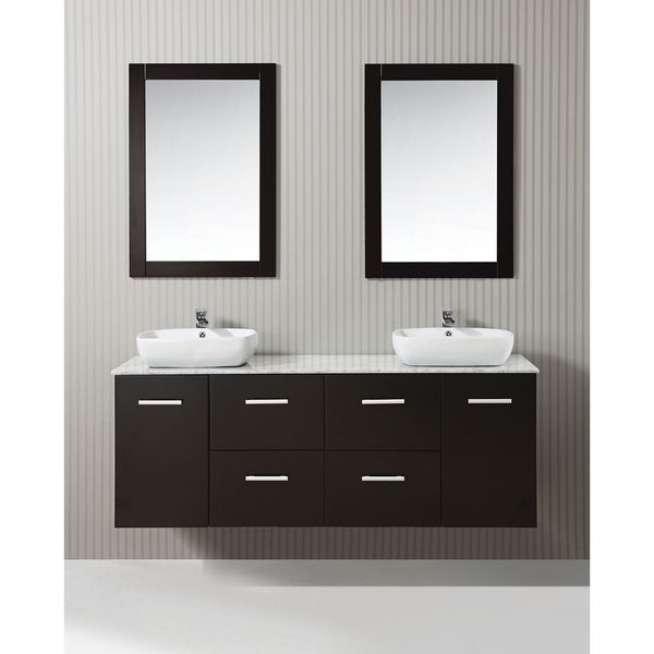 ICA Furniture Selena 63-inch Marble Top Espresso Modern Bathroom Vanity Potential vanity. I like the floating vanity concept.