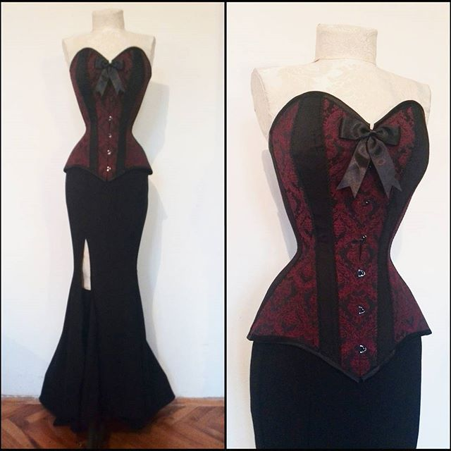 Finally finished this elegant prom dress for @_andzaa_ :D #dark #red #gothic #brocade #handmade #dress #prom #night #fashion #design #corset #handmade #corsetry #dressmaking