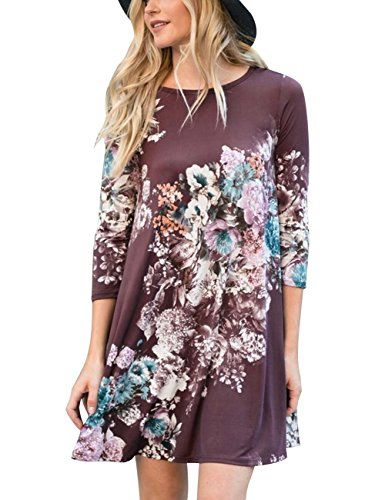 ae7f6e13aff MEROKEETY Women s Casual Floral Print 3 4 Sleeve Swing T Shirt Dress With  Pockets
