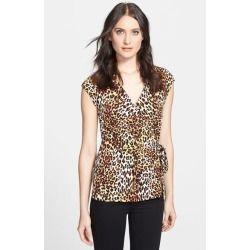 Anne Klein Leopard Print Wrap Top (Petite) Vermillion Multi Large P - product - Product Review