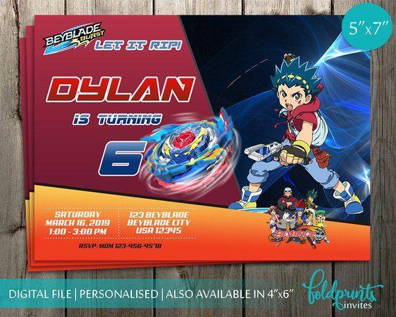 Beyblade Invitation Beyblades Birthday Bey Blade Boy Party Digital Card Invites Personalized Pri
