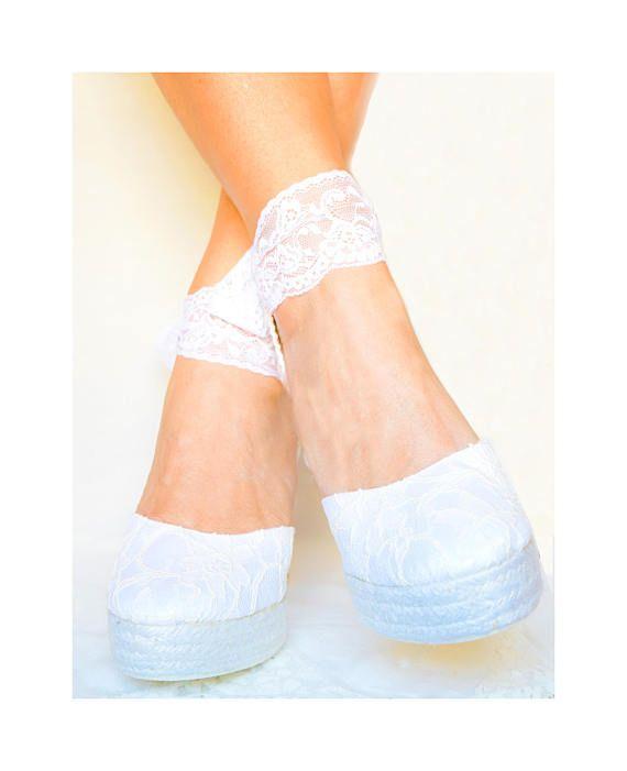 2a590c794df6 CAROLINE Platform Lace and Satin Espadrilles Wedding shoes