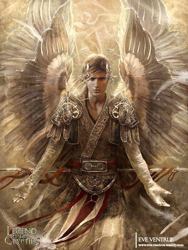 by Eve Ventrue. Fantasy Art. Male, angel, warrior, protector, guardian.