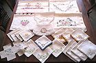 23 Pieces- Vintage Embroidered Linens - Runners, Hand Towels, Napkins, Doilies