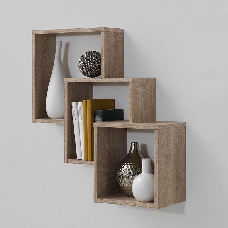 Meuble étagère de rangement 3 niches couleur bois Décoration d