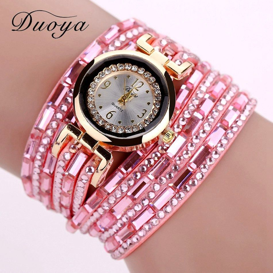Duoya brand gold crystal fashion bracelet watch women casual leather