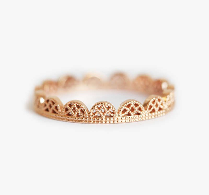 You Will LOVE these 10 Stacking Rings from Etsy - Lace ring, Filigree ring gold, Lace wedding ring, Rose gold band, Lace wedding band, Filigree wedding ring - Stacking rings are a great option for any couple  If you fall in love with two different rings, that's no problem! Many of the rings featured can be paired together for a set that is truly your own  This minimalist diamond ring set from CocoandChia has it all! It is made with recycled sterling sliver …