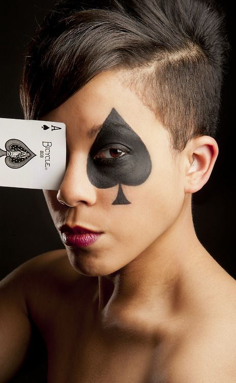 spade card face paint  Ace of Spades in 7 | Card costume, Playing card costume ...