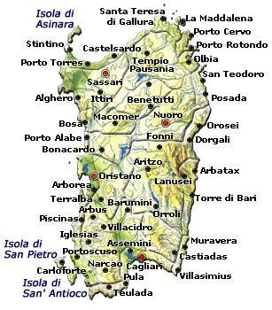 Sardinia Map Sardaigne Italie Sardaigne