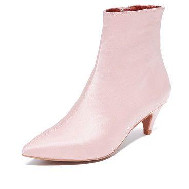 JEFFREY CAMPBELL Muse Satin Kitten Heel Booties | Kitten heels ...