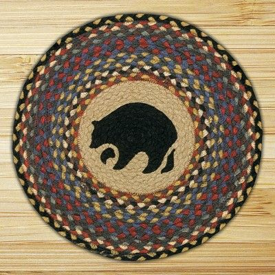 Hand Printed Chair Pad Black Bear Jute Braided Earth Rug®