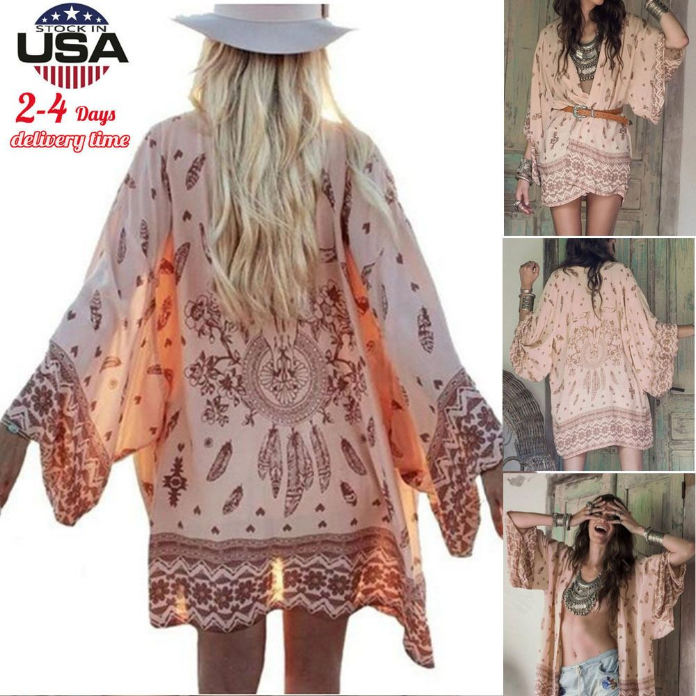Women Girl Boho Printed Chiffon Loose Shawl Kimono Cardigan Tops ...
