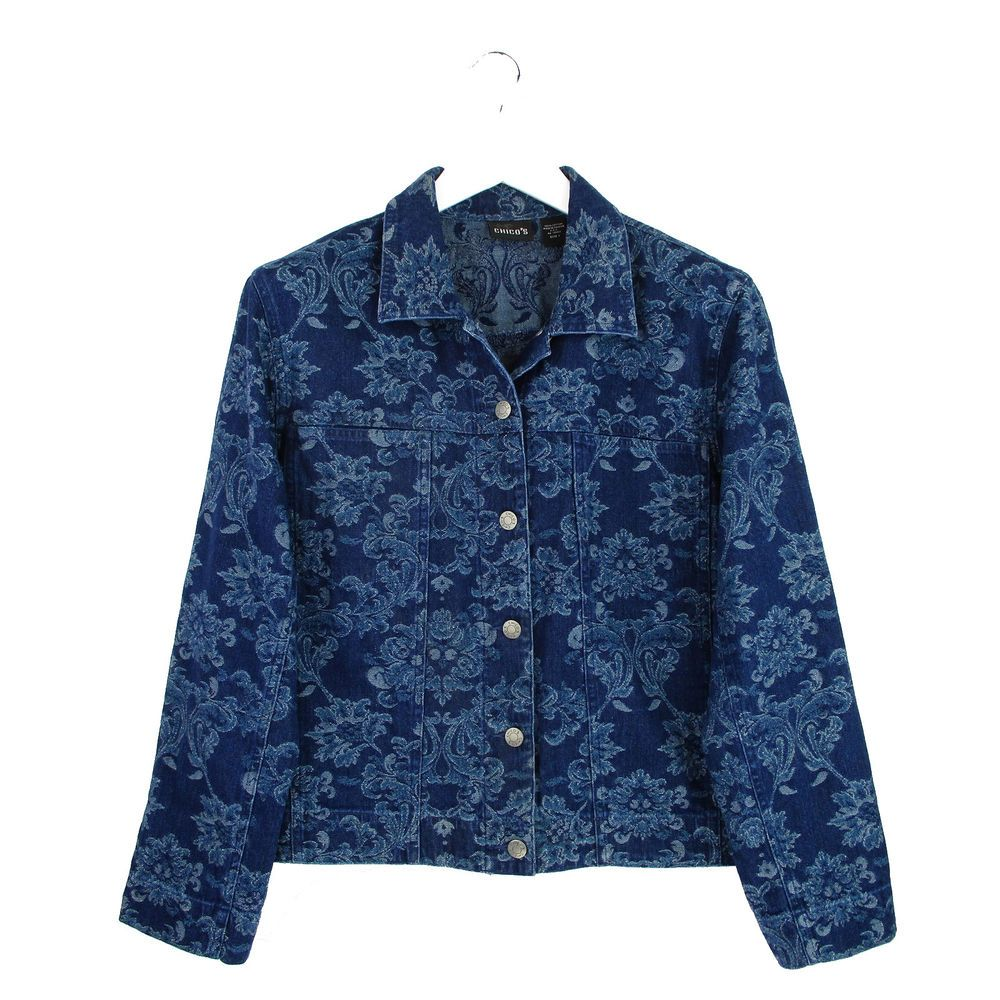 a0488f630a721 Chicos 1 Jean Jacket Medium M Blue Denim Jacquard Tapestry Floral Button  Front  Chicos  JeanJacket  Casual