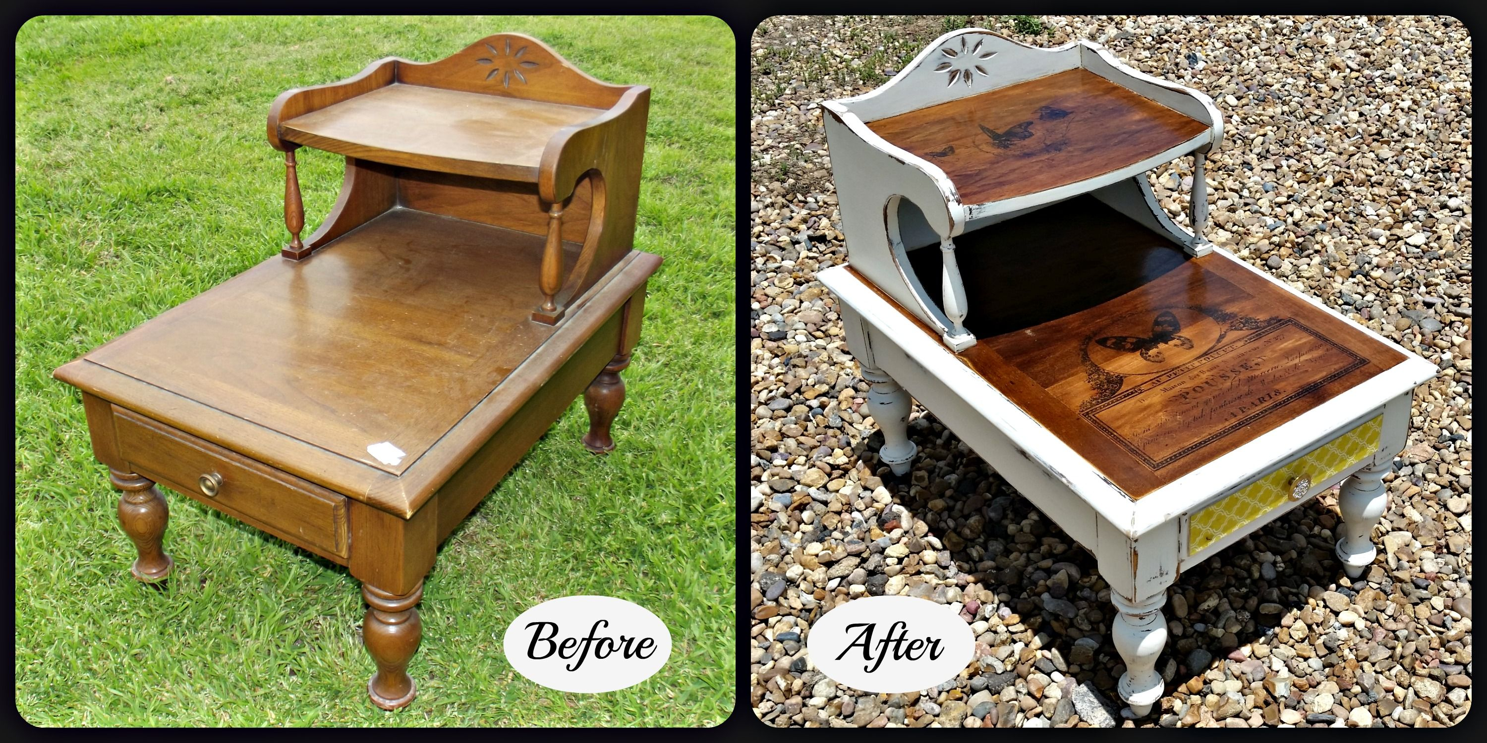 How to heat transfer onto furniture decoupage drawers