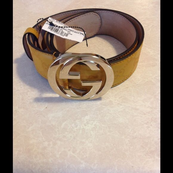 ae10d31590c Brand new authentic Gucci Belt Guccissima leather belt with interlocking GG  buckle. Yellow mustard color. Gucci size 80. Gucci Accessories Belts