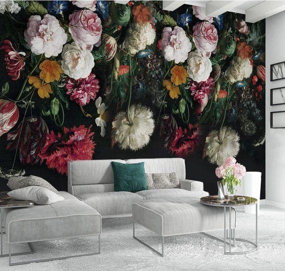 3d Vintage Dark Floral Removable Wallpaperpeel And Stick Wall Etsy Vintage Floral Wallpapers Peony Wallpaper Floral Wall Art