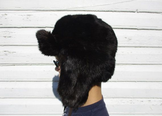 5e90e28353148 Rabbit Fur Hat SMALL size 54 cm Russian Ushanka by MerilinsRetro